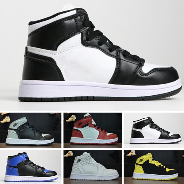 Nike air jordan 1 retro 2018 Çocuk Atletik 1 Sneakers Erkek Kız Basketbol Ayakkabıları Yasaklı 1 s Dokuma Sneaker Gençlik Çocuklar Spor Ayakkabıları EU28-35