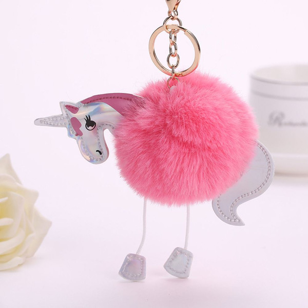 1 Pcs New Women Cartoon Artificial Rabbit Fur Unicorn Key Chain Handbag Pendant Car Keyring Fashion Keychain Jewelry