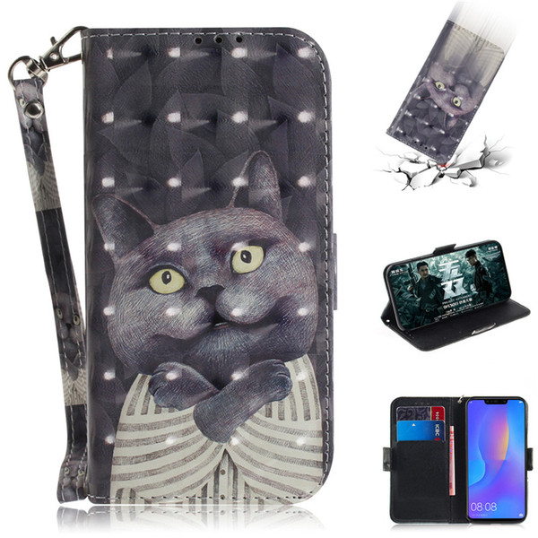 Flip Cover Phone Bags For Huawei Nova 3i/P Smart Plus Case 3D Painting PU Leather Soft Silicon Wallet Covers Cases Coque