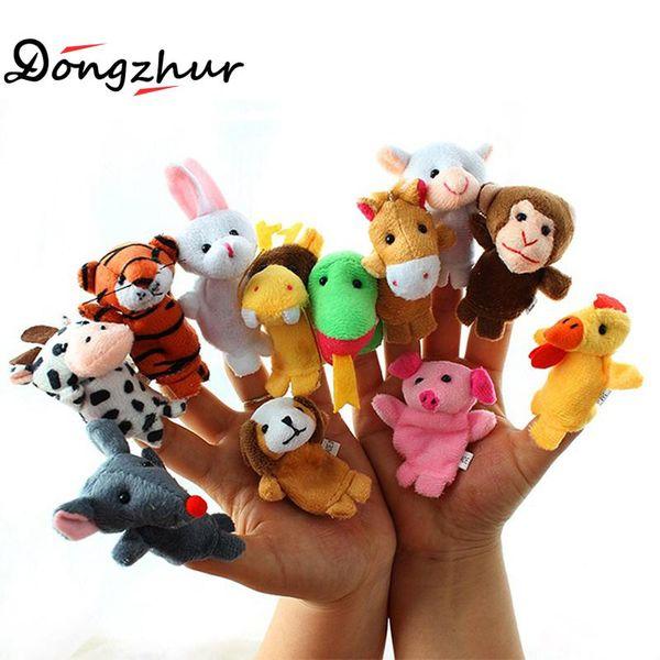 New 12pcs/lot Cloth Tiger Monkey Giraffe Antelope Leopard Animal Finger Puppet Set Children Story Telling Helper Dolls LMY948