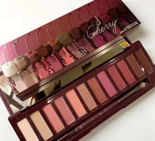 New arrival makeup palette 12 color nude cherry eye hadow palette with bru h dhl hipping