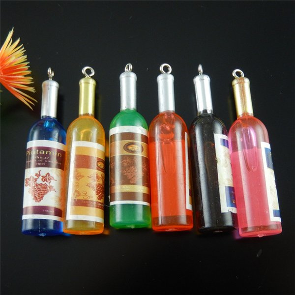 Graceangie 5pcs Wine Bottle Pendant Charms Handmade Hanging Crafts Finding New Arrival Accessory