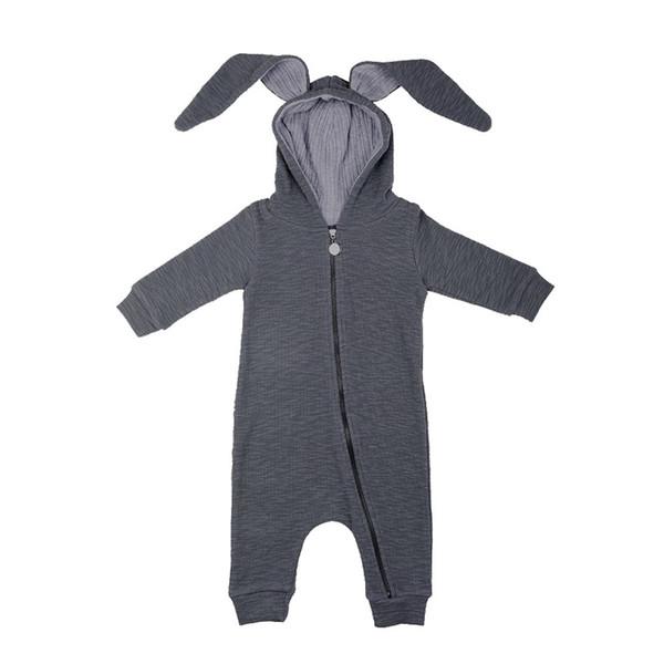 Baby-Kaninchen mit Kapuze Bodysuits Ohren Jungen Mädchen Strampler Lange Kaninchenohren Reißverschluss 95% Baumwolle Langarm Frühling Herbst 3-18M