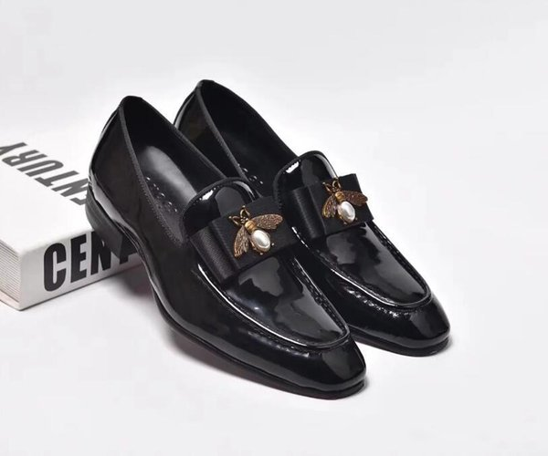 Fashion Handmade Men Genuine Leather with Bow Wedding Dress shoes Men Luxurious Prom and Banquet Loafers Plus Size Men's Flats