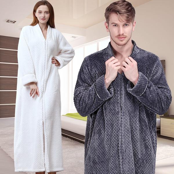 Men Extra Long Thermal Flannel Bath Robe Zipper Plus Size Thick Warm Coral Fleece Bathrobe Women Mens Dressing Gown Winter Robes