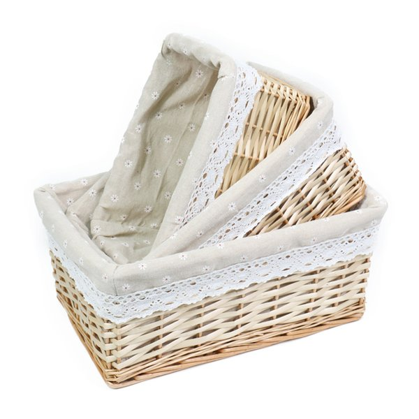 Handmade Woven Wicker Storage basket with Liner.Storage containers.Home Storage Bins for Toys laundry clothing Sundries Neatening(Natural)
