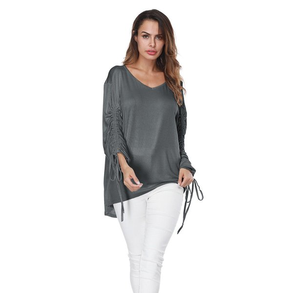 Hot Women T-shirt Ladies Casual V-neck T-Shirts Gray Long Sleeve Loose Tops Women Clothes Summer Fashion