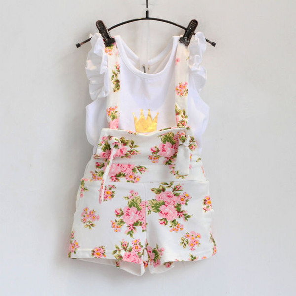 top popular Vieeoease Girls Floral Suits INS Kids Sets Clothing 2018 Summer Short Sleeve Flower Shirt + Floral Short Pants 2 pcs MK-205 2021