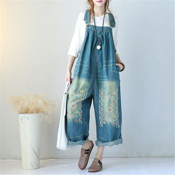 BUYKUD Vintage Embroidered Denim Jumpsuits Jeans Woman Backless Overalls Women Suspenders Wide leg Pants Bib Boots jumpsuits