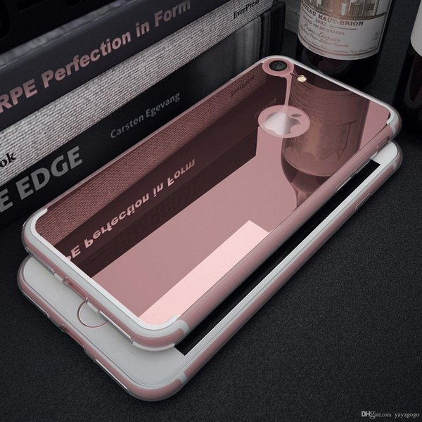 TOP sell Luxury Ultra thin Slim Rubber Crystal Clear Bumper with Acrylic mirror back multi color hot sell E378