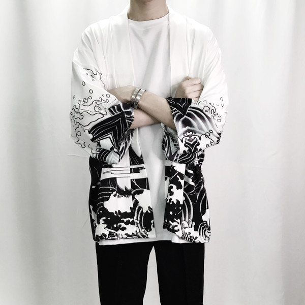 Été Hommes Kimono Vêtements Japonais Streetwear Kimonos Casual Vestes Harajuku Japon Style Cardigan Outwear En Gros