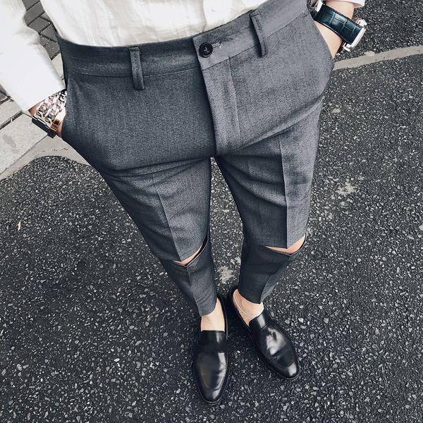 Pantalone uomo Slim Fit Pantalone Homme Slim Formal Broken Pantalone per uomo