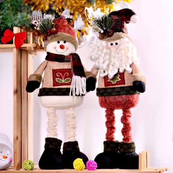 2 PCS/Set Super Cute Christmas Plush Toy Sitting Santa Clause Snowman Doll Christmas Ornaments