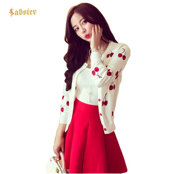 Compre Otoño Primavera Mujer Suéter Cherry Bordado Patrón All Match ...