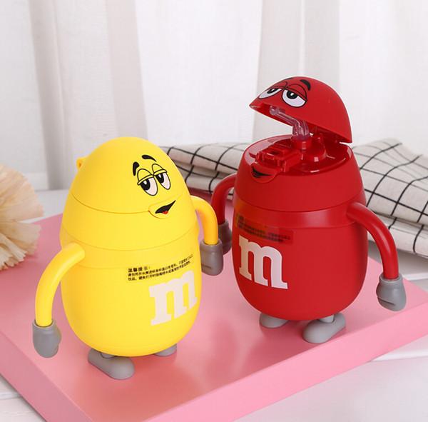 Forme de dessin animé pour enfants M tasse de paille de haricot personnalisé Creative Tampon de silicone couleur impression portable tasse Mugs