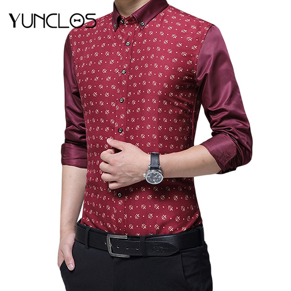 Lutratocro Mens Casual Long-Sleeve Work Print Plus Size Dress Shirt