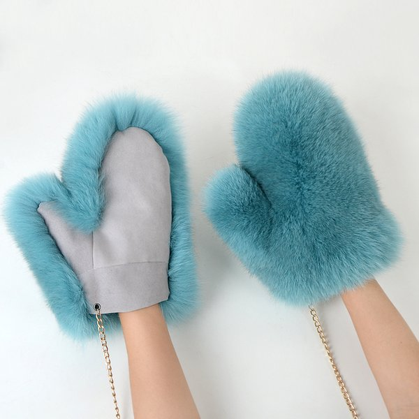 2018 new Women Fashion  New Genuine natural Woollen  Fur Covered Winter Gloves Mittens real  fur glove JKP