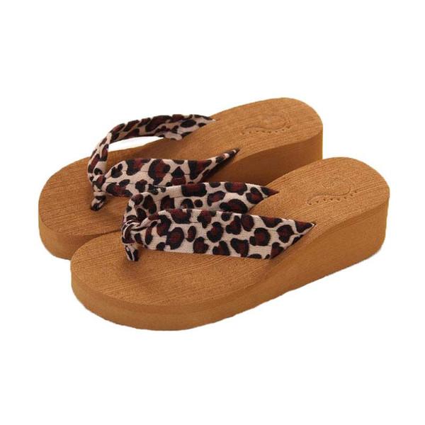 Frauen Flip Flops Slipper Marke Schuh Playa Hausschuhe Mädchen Sommer Leopard Muster Flache Ferse Sandalen Haus Schuhe # 33 Sommer 2018