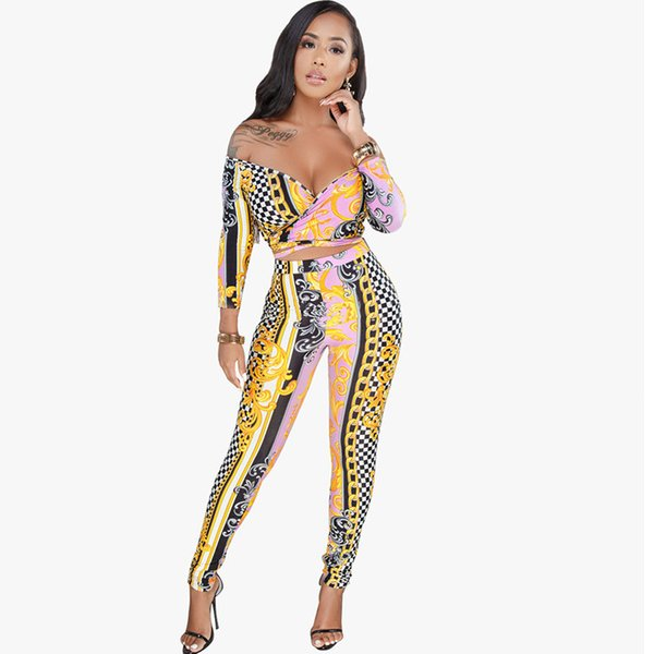 Sexy Off Shoulder Two Piece Set Women V-neck Slash Neck Print Crop Top and Pants Leggings Clubwear 2 Piece Outfits with Sleeve