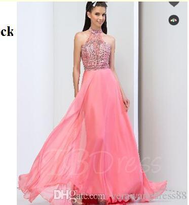 High Neck A-Line Sequins Crystal Prom Dress Dress Graduation