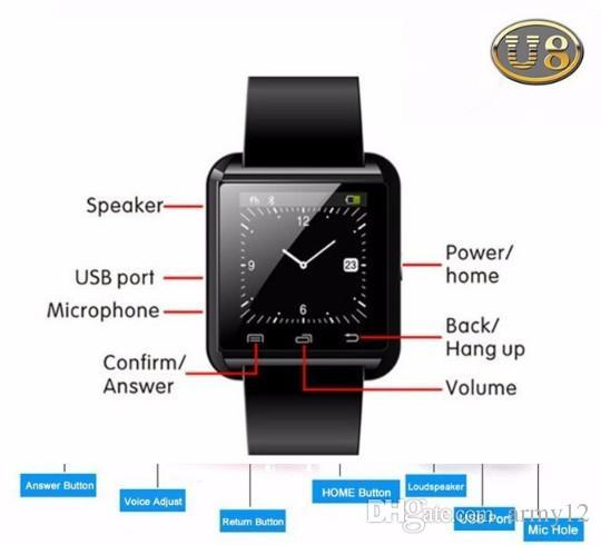 SmartWatch Smart Watch U8 WristWatch Wearable Devices for iOS iPhone & Android Phone SAMSUNG XIAOMI HUAWEI better