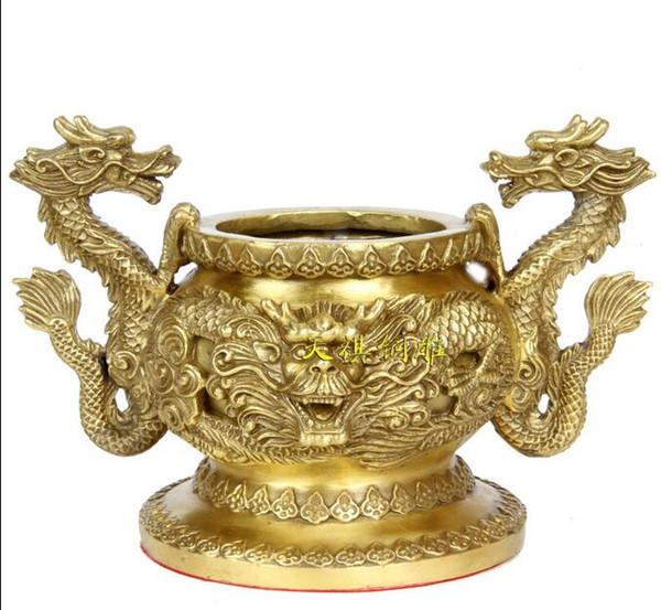 China Buddhism Palace Bronze Copper Dragon Mahakala Buddha Incense Burner Censer