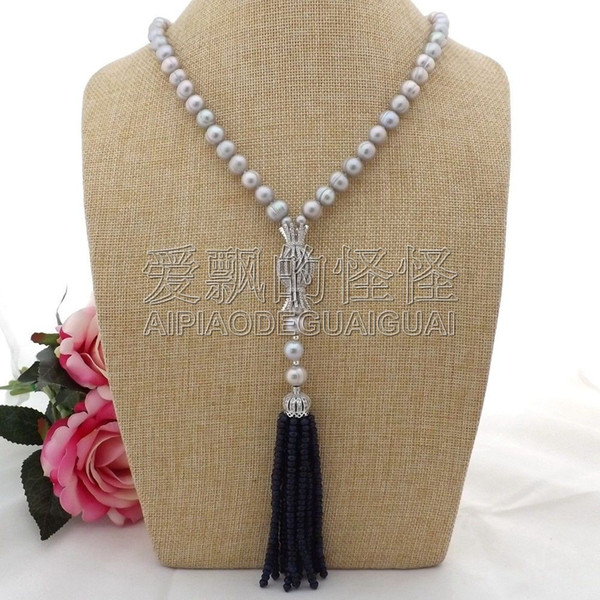 """N093008 22"""" Gray Pearl Necklace CZ Pendant"""