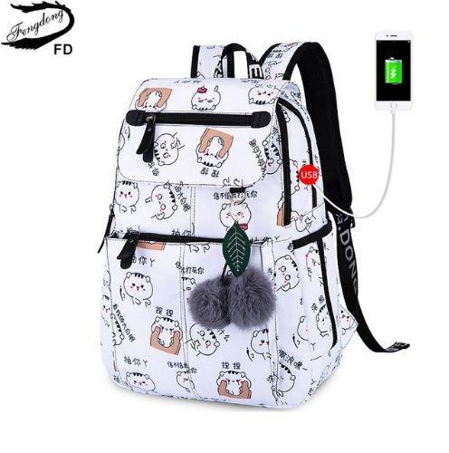 FengDong femme mode école sac à dos sacs d'école usb pour filles sac à dos noir en peluche boule fille cartable décoration de papillon