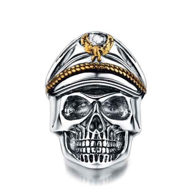Silver World War II Soldier Anniversary Mens Rings Punk Rock Vintage Skull Ring Biker Men Jewelry