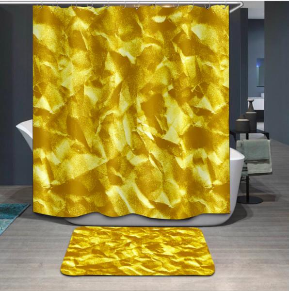 3D Areia Dourada Impressão Personalizado À Prova D 'Água Do Banheiro Moderno Girassol Cortina de Chuveiro Tecido de Poliéster Cortina Do Banheiro Porta tapete conjuntos