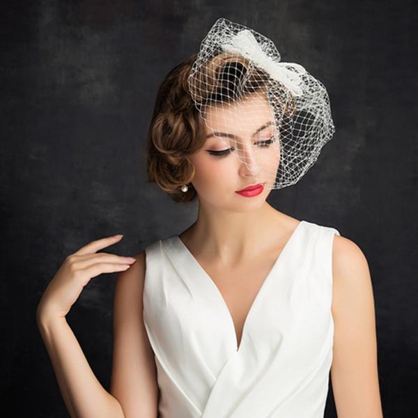 2018 Wedding Birdcage Veils Champagne Ivory White Flowers Feather Birdcage Veil Bridal hat Hair Pieces Bridal Accessories