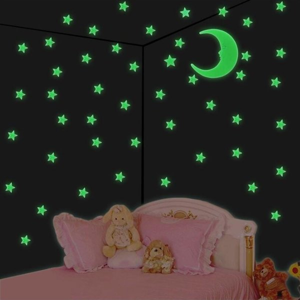 Stars Moon Glow In The Dark Wall Stickers Super Moon Stickers 201pcs/Set Home Decoration Kids Room Decor 100Sets OOA5286