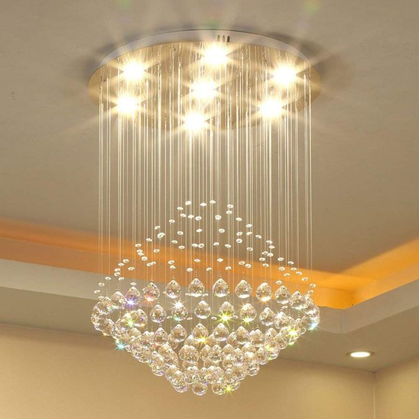 LED 3 Brightness Crystal Ceiling Lights Fixture Lamps Chandeliers Pendant Lights Lighting Stair lights With LED Bulbs and Remote control