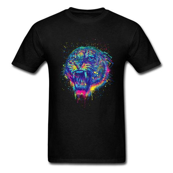 Watercolor Painted Tiger Tshirt Men Russia Wildlife T Shirt Roaring Tiger Men's White Tshirt Hip Hop Casual Tops Streetwear