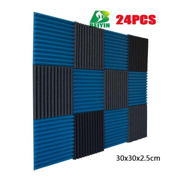 24PCS Wedge Acoustic Foam Studio Audio Echoes Treatment Sound Insulation Soundproof Foam Silencing Wall Panels Fireproof Mater 30X30X2.5cm
