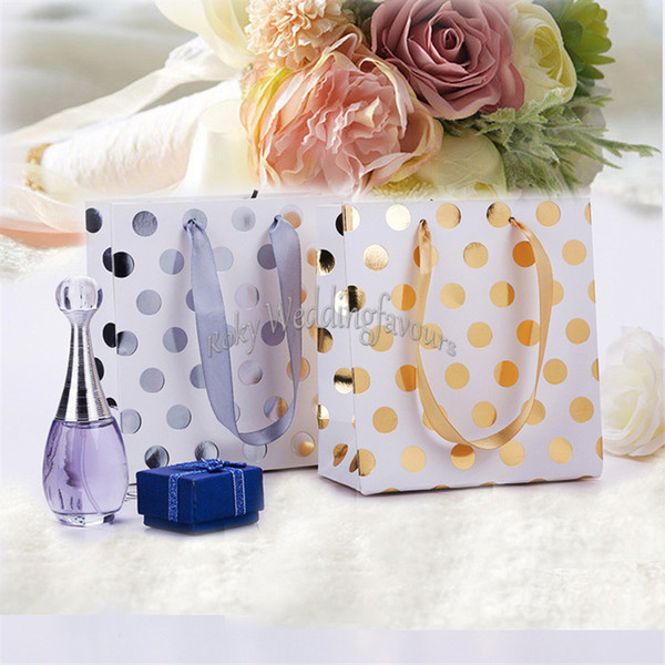 24PCS Mini Portable Foil Silver/Gold Polka Dot Paper Bag with Satin Handle Candy Favor Wedding Birthday Gift Decors Shopping Bag