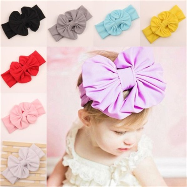 New Baby Girls Bow Headbands Europe Style Big Wide Bowknot Hair Band 9 Colors Children Hair Accessories Kids Headbands Hairband