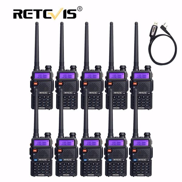 10pcs Retevis Walkie Talkie RT5R+Program Cable VHF UHF Radio Station 128CH FM Frequency Portable cb Radio Set Hf Transceiver