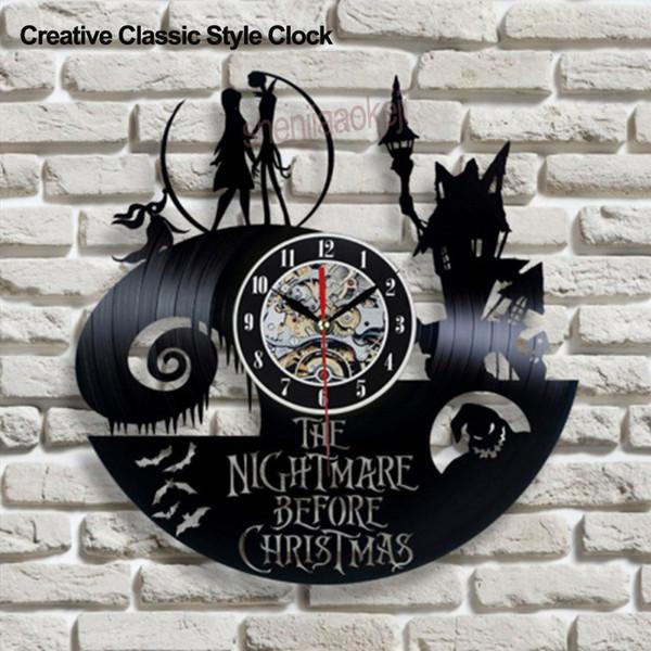 O Pesadelo Noite de Natal Tema Retro CD Gravar Relógio 3D Clássico Filme Pendurado Relógio De Parede Oco Criativo Estilo Antigo