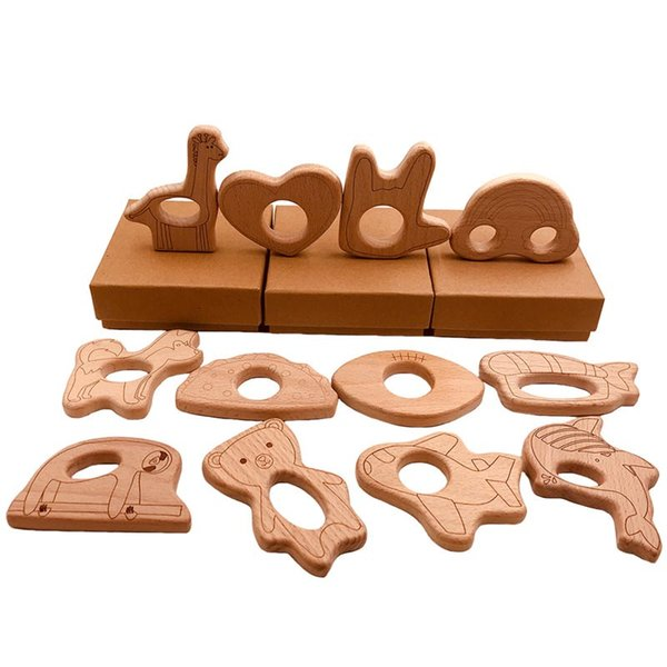 best selling Different Shape Baby Wooden Teether Heart Giraffe Cloud Finger Bear Fish Design Nature Nursing Baby Wood Teething Toy Wood Craft
