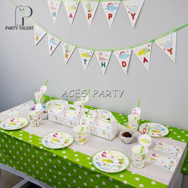Fuentes del partido 58 unids para 8kids dinosaurio tema fiesta de cumpleaños decoración juego de mesa, plato + taza + paja + banner + candybox + topper