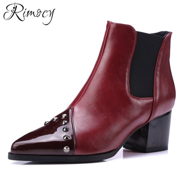 wholesale ankle boots for women booties ladies fashion pointed toe shoes woman PU leather botas mujer rivet shoes large size female