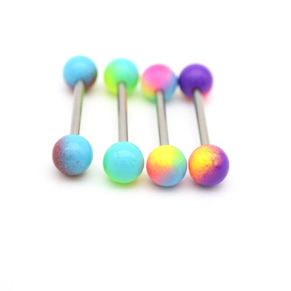 Tongue Bar Rings Piercing Straight Barbell Surgical Steel 14g Balls Colorful Fashion Body Jewelry 16mm Length