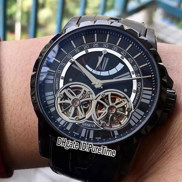 New 46mm Excalibur 46 PVD Steel Black Dial Double Tourbillon Power Reserve Automatic Mens Watch Leather High Quality Glass Back RD-B36c3