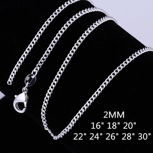 Fine 925 Sterling Silver Necklace, 2MM 16inch 18inch 20inch 22 24inch 26inch 28 30Inch Curb Chain Necklace For Women Men Jewelry Link Italy