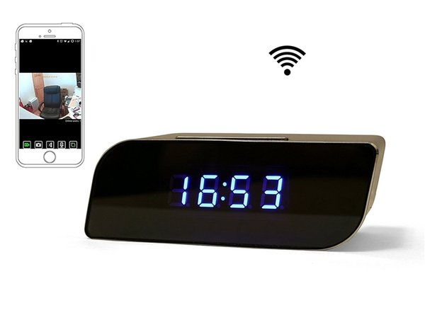 WIFI Super Camera Clock 1080p HD Night Vision Security Network Camera Motion Detector For Smartphone Tablet PC Nanny Cam Retail Box 10pcs
