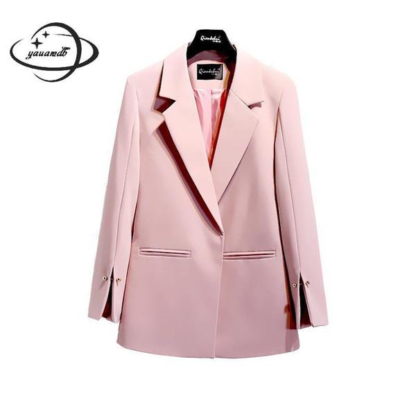 YAUAMDB mujer blazer 2018 primavera otoño tamaño S-2XL hembra de color  sólido blazer señoras c3f5eb607d9