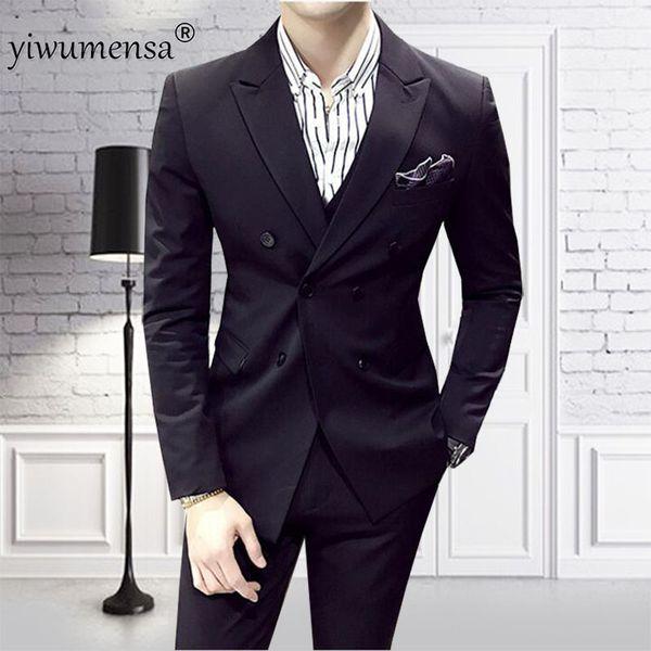 YWMS-60 mens blue wedding suits bleu royal homme men suit 2018 custom made 3 Pieces Luxury Suits wedding Groom Suit for man