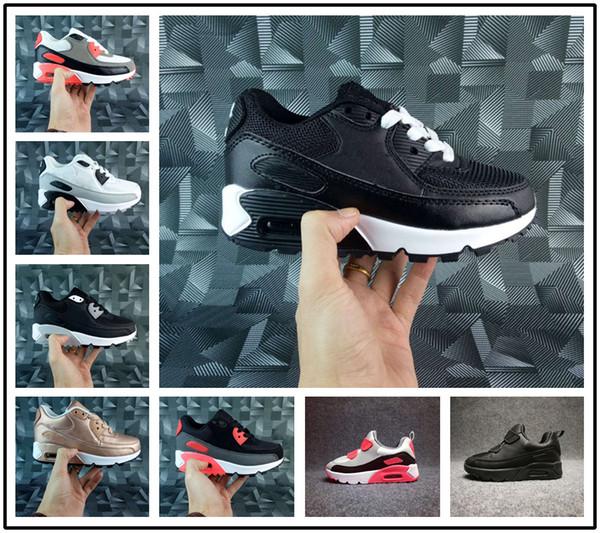 Großhandel Nike Air Max Airmax 90 2018 Athletic Presto 90 II Kinder Laufschuhe Schwarz Weiß Baby Infant Sneaker 90 Kinder Sportschuhe Mädchen Jungen