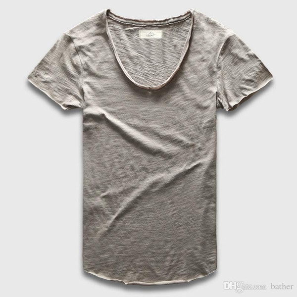 d93b8baee3988 Wholesale- Plain Basic Top Tees Men Casual Deep V Scoop Neck T-Shirt Male  Slim Fit T Shirt Luxury Curved Hem Navy Tee Muscle
